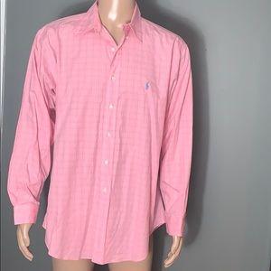 Ralph Lauren Mens Pink Button Down Shirt 16.5/35
